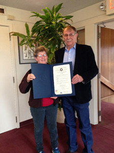 Kate Paris with Checotah, OK's Mayor Marvin Nichols