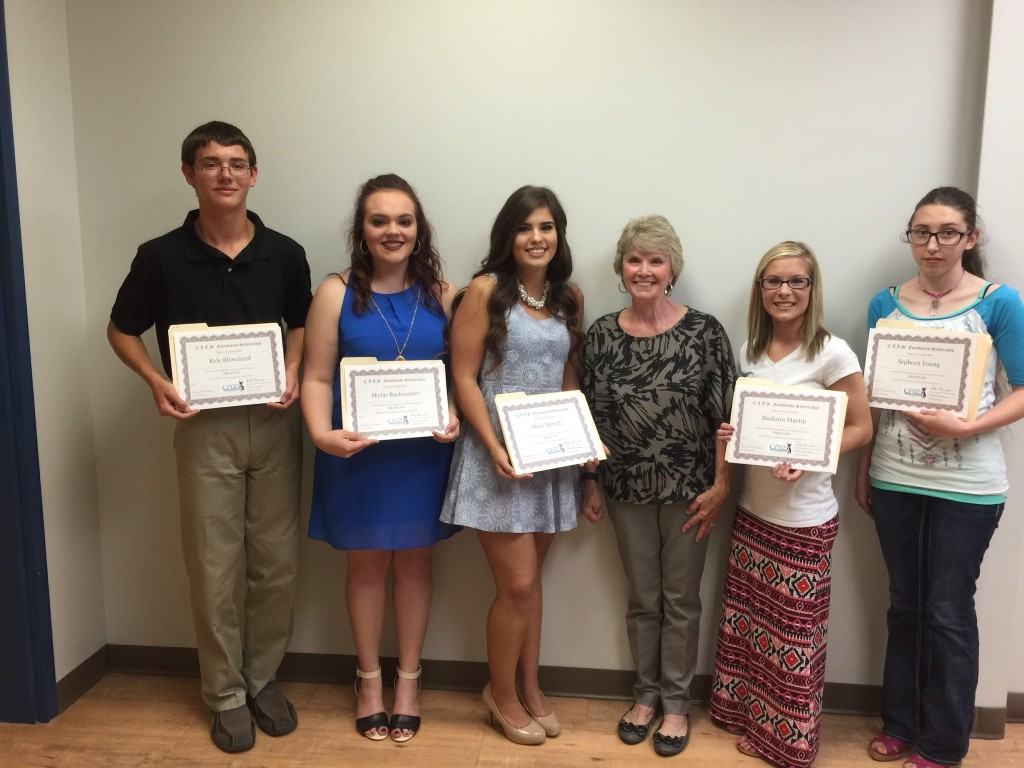 Pictured Left to Right: Kyle Blanchard, Skylar Buckmaster, Shyla Harrell, C.A.T.S. Foundation representative Carole Underwood, Madison Martin, and Sephora Young